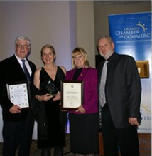 Karin Heidolph-Bremner receiving the Business Women of the Year Award at the Caledon Chamber of Comm